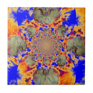 Feuer-Orchidee - Blau Kleine Quadratische Fliese