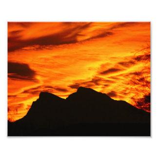 Feuer-Sonnenuntergang-Foto-Druck Fotografien