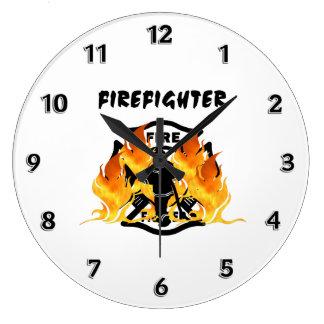 Feuerwehr-Flammen Große Wanduhr