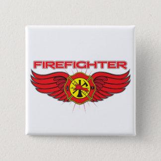 Feuerwehrmann-Abzeichen und Flügel Quadratischer Button 5,1 Cm
