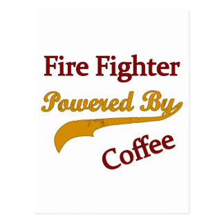 Feuerwehrmann angetrieben durch Kaffee Postkarte
