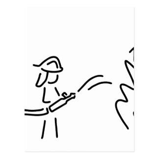 feuerwehrmann berufsfeuerwehr feuerwehrfrau postkarte