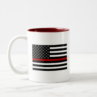 Feuerwehrmann-dünne rote Linie zwei Zweifarbige Tasse