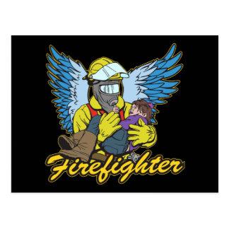 Feuerwehrmann-Engel Postkarte