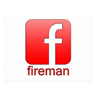 Feuerwehrmann Facebook Logoschablone Postkarte