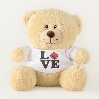 Feuerwehrmann-/Feuer-Abteilungs-LIEBE Teddy-Bär Teddybär