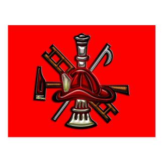Feuerwehrmann-Feuer und Rettungs-Abteilungs-Emblem Postkarte