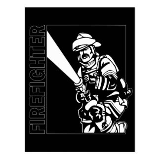 Feuerwehrmann in Schwarzweiss Postkarte