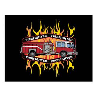 Feuerwehrmann-Löschfahrzeug Postkarten