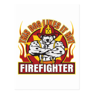 Feuerwehrmann mag es heiß postkarte