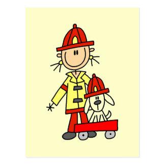 Feuerwehrmann mit Dalmation T-Shirts und Postkarte