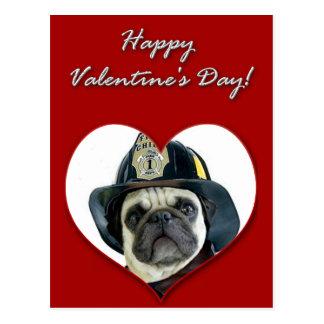 Feuerwehrmann-Mopshund Postkarte