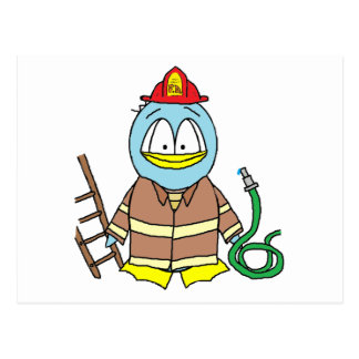 Feuerwehrmann-Pinguin Postkarte