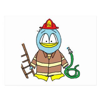 Feuerwehrmann-Pinguin Postkarten