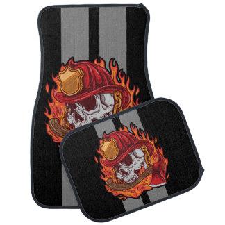 Feuerwehrmann-Schädel-graue Rennen-Streifen Autofußmatte