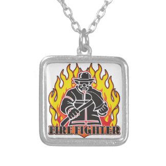 Feuerwehrmann-Silhouette Halskette Mit Quadratischem Anhänger