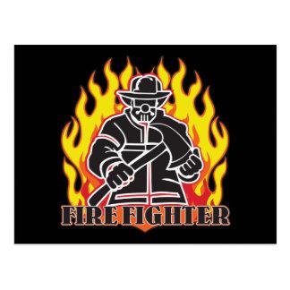 Feuerwehrmann-Silhouette Postkarte
