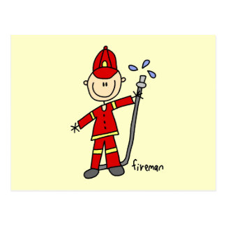 Feuerwehrmann-Strichmännchen Postkarten