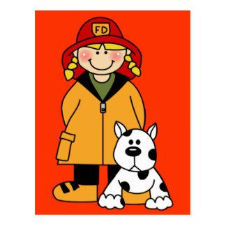 Feuerwehrmann und Hund Postkarte