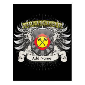 Feuerwehrmann-Wappenkunde Postkarte