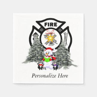 Feuerwehrmann-Weihnachten Serviette