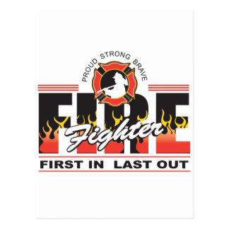 Feuerwehrmann zuerst herein, zuletzt heraus postkarte