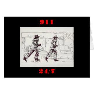 Feuerwehrmänner im Gang Karte