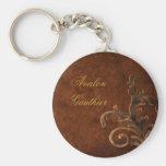 Feuille en bronze personnalisée Keychain de roulea Porte-clé