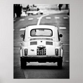 Fiat 500, cinquecento vintage, affiche de Rome
