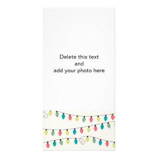 Ficelle de Noël de motif de lumières Photocarte Personnalisée