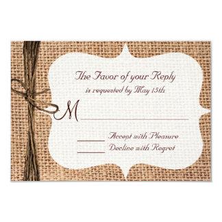 Ficelle rustique de toile de jute de pays épousant carton d'invitation 8,89 cm x 12,70 cm