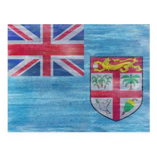 Fidschi beunruhigte Flagge Postkarte