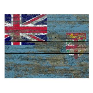 Fidschi-Flagge auf rauem Holz verschalt Effekt Postkarte