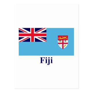 Fidschi-Flagge mit Namen Postkarte