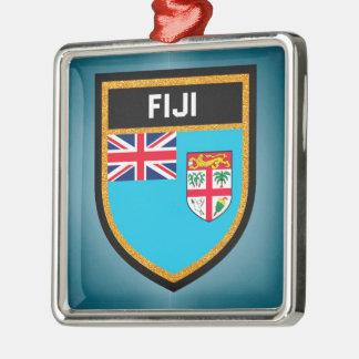 Fidschi-Flagge Quadratisches Silberfarbenes Ornament