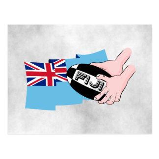 Fidschi-Flaggen-Rugby-Ball-Durchlauf-Cartoon-Hände Postkarte