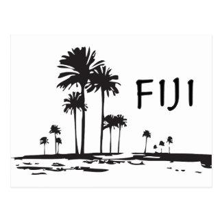 Fidschi - grafische Palmen Postkarte