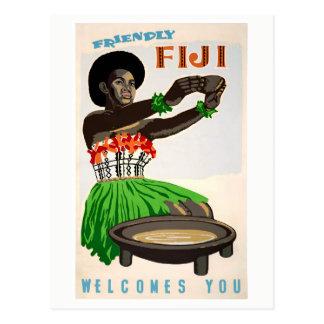 Fidschi stellte Vintages Reise-Plakat wieder her Postkarte