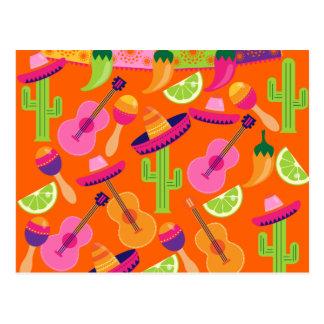 Fiesta-Partysombrero-Kaktus kalkt Paprikaschoten Postkarte