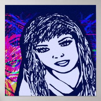 Fille bleue d'art de bruit d'impression de toile affiche