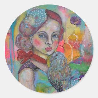 Fille de conte de fées avec l'oiseau sticker rond