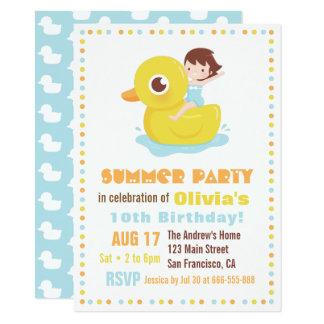 Fille sur la partie en caoutchouc d'anniversaire carton d'invitation  11,43 cm x 15,87 cm