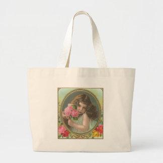 Fille vintage avec des fleurs sac en toile jumbo
