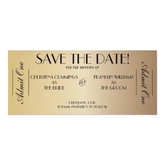 Film-Karten-Save the Date Mitteilung (Gold2) 10,2 X 23,5 Cm Einladungskarte