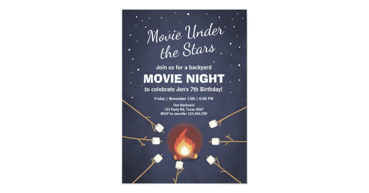 Film-Nachteinladung unter dem Stern-Feuer Einladung | Zazzle.ch