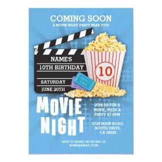 Film-Nachtfilm-Kino-Geburtstags-Party-Blau lädt Karte