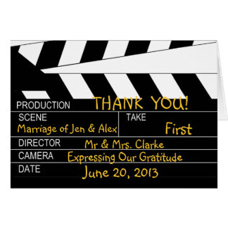 Film-Thema-Hochzeit danken Ihnen Mitteilungskarte
