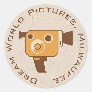 Filmemacher-Film-Kamera personalisiert Runder Aufkleber