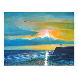 Findhorn Pier am Sonnenuntergang Postkarte