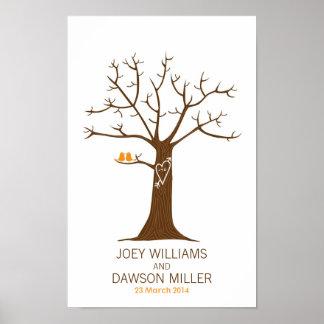 Fingerabdruck-Baum-Hochzeit (weiß) Poster